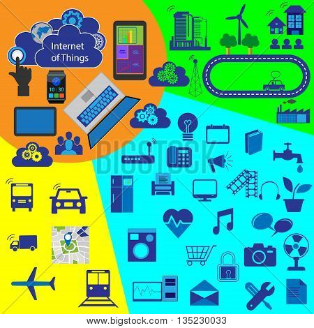 Internet of things, reusable vector icon collection