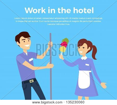 Work in hotel banner design flat style. Happy male and female members of the service staff at the hotel. Work service cleaner and maid, cleaning business and worker occupation. Vector illustration