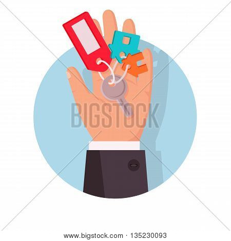 Key to apartment on the palm icon design flat. Key with trinket from the apartment, house or property is in  human palm hand. Buy and giving or sale, selling property or gift. Vector illustration