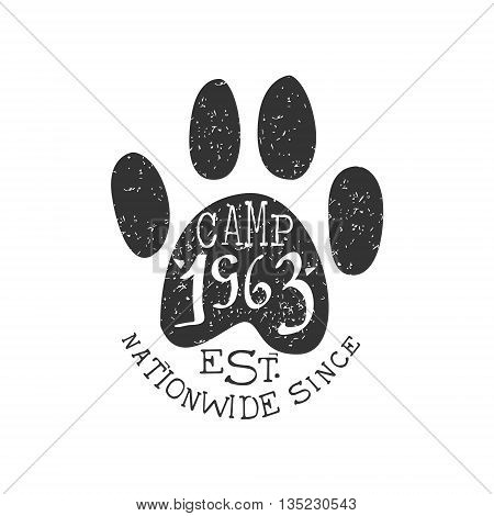 Nationwide Camp Vintage Emblem Black And White Monochrome Vector Design Label On White Background