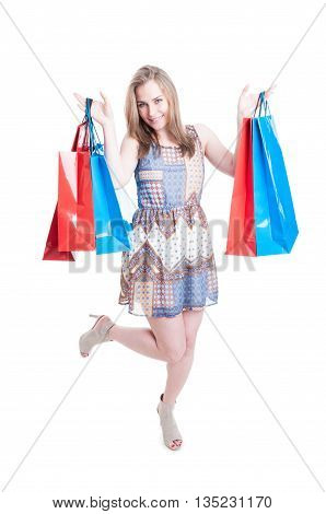 Pretty Young Fashion Woman In Full Body Holding Shopping Bags