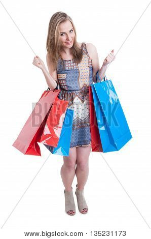 Beautiful And Attractive Woman With Shopping Bags Looking Excited