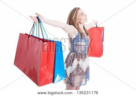 Sales And Leisure Concept With Attractive Female Holding Shopping Bags