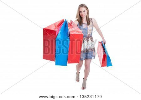Smiling Excited Shopaholic Woman Walking With Shopping Bags