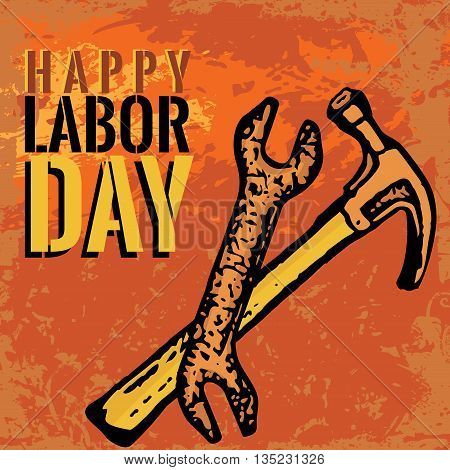 An abstract illustration of Labor Day with tools on an orange grungy background