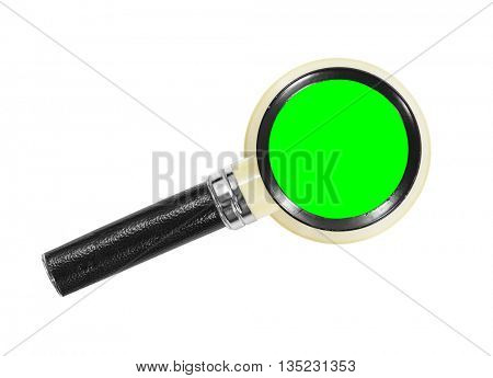 Vintage magnifying glass isolated with chroma green insert.