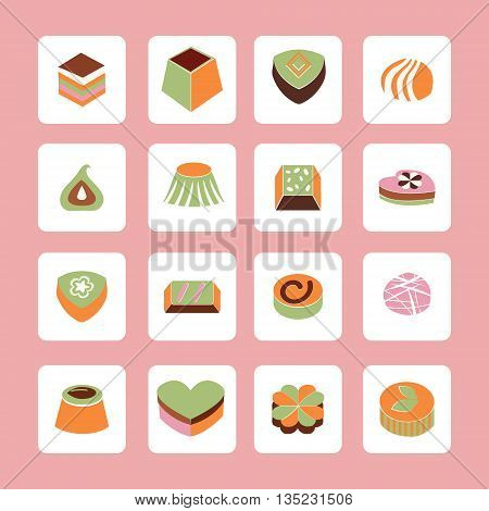 Vector Set icons of Delicious Chocolate Candy sweet food illustration.