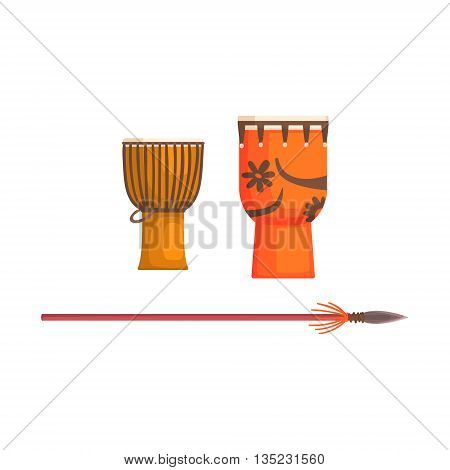 African Tom-tom And Spear Realistic Simplified Bright Color Vector Drawing Isolated On White Background