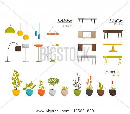 Set of lamps, table, and house plants vector for interior. House plants vector objects. Plants and flowers.Table vector illustration isolated on white background. Table icons. Table lamps. Lamps icon.