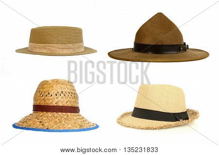 set of brim hat isolated on white