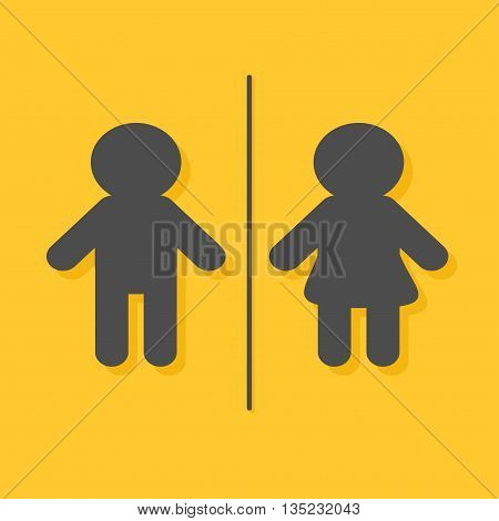Male Female sign. Man and Woman gender icon. Restroom symbol Isolated Yellow background Flat design. Vector illustration