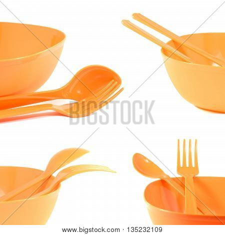 set of plastic tableware dish spoon fork isolated on white