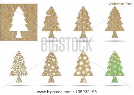set of christmas tree from sackcloth isolated on white
