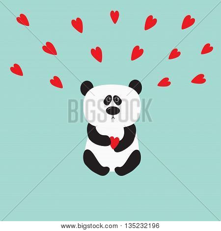 Panda baby bear. Cute cartoon character holding red heart. Wild animal collection for kids. Blue background. Love card. Flat design. Vector illustration