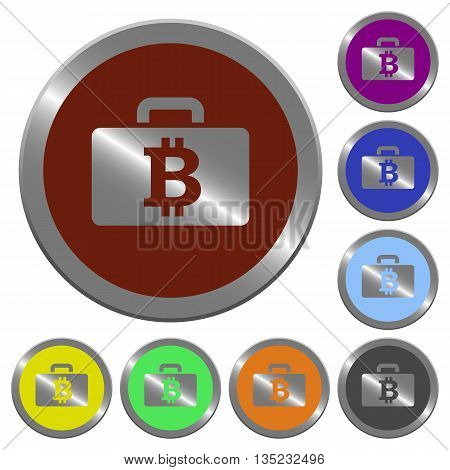 Set of color glossy coin-like bitcoin bag buttons.