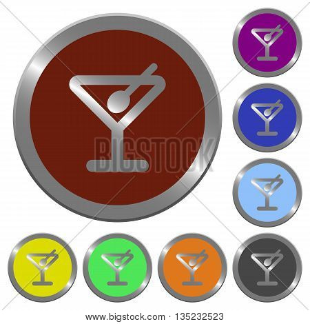 Set of color glossy coin-like cocktail buttons.