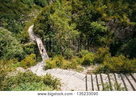 Verdon France - June 29 2015: People Travelling Walking On Stone Steps Trail Path Way Mountain Road In Verdon Gorge In France. Scenic View
