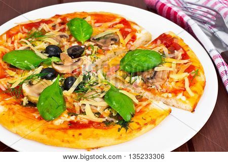 Pizza with Mushroom, Cheese, Mozzarella, Olives and Basil Studio Photo