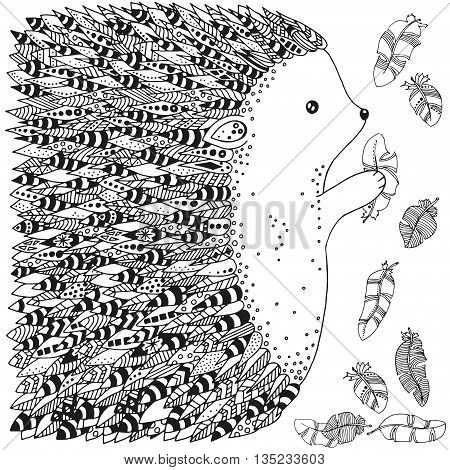 Artistically ornamental prickly hedgehog and feathers. Hand-drawn, ethnic, floral, retro, doodle, vector, zentangle, tribal design elements. Pattern for coloring book