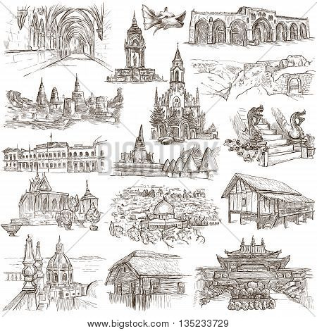 Sketching FAMOUS PLACES AND ARCHITECTURE. Set of People and Natives. Collection of an hand drawn illustrations. Pack of full sized hand drawn illustrations original freehand sketches.