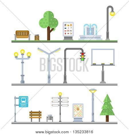 Urban landscape icons. Traffic lights and lanterns, bench and fountain street elements. Icon urban element, billboard urban, lamppost urban, signboard and irban advertisement, vector illustration