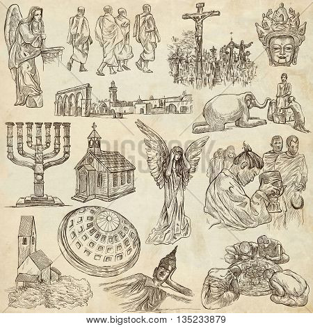 Sketching RELIGION around the World. Set of People and Natives. Collection of an hand drawn illustrations. Pack of full sized hand drawn illustrations original freehand sketches.
