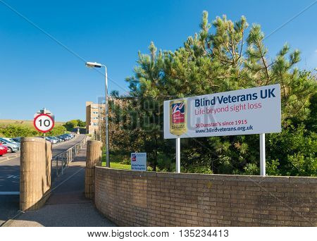 BRIGHTON UK - OCTOBER 20 2015: Blind veterans UK training convalescent care and holiday centre in Ovingdean Brighton opened in 1938