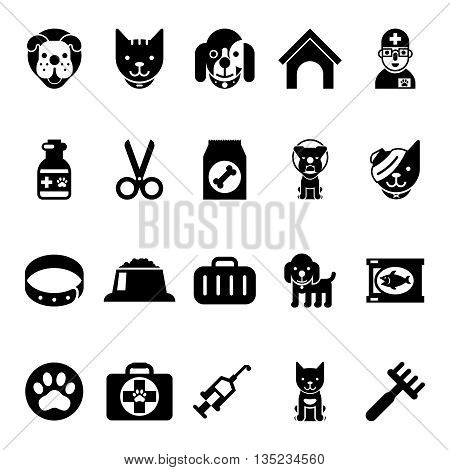 Pets icons, vet clinic icons and veterinary medicine icons. Cat and dog pet, veterinary medicine animal, veterinary medicine domestic pet. Vector illustration