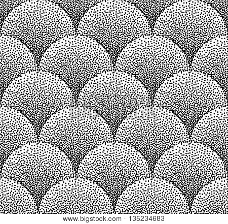 Dotted  abstract wave pattern or fan shape seamless background. Wave shape dot pattern. Abstract background wave dot, pattern seamless wave dot, decor wave dot. Vector illustration