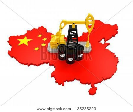 Oil Pump and Oil Barrels on China Map isolated on white background. 3D render