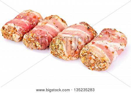 Meat Rolls in Bacon, Chops Wrapped Beef with Mushrooms Studio Photo