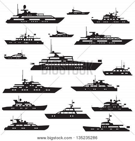 Set icons of motor yachts.Yacht vector symbol silhouette.