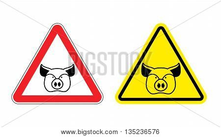 Warning Sign Pork Attention. Dangers Yellow Sign Pig. Farm Animal On Red Triangle. Set Of Road Signs