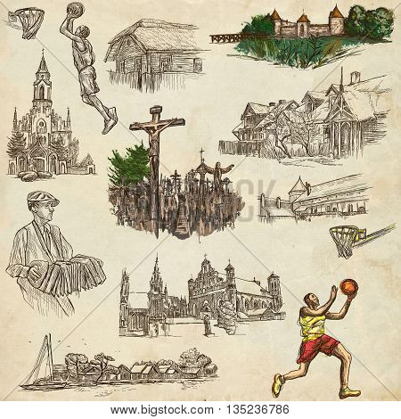 Travel series Republic of LITHUANIA - Pictures of Life. Collection of an hand drawn illustrations. Pack of full sized hand drawn illustrations set of freehand sketches. Drawing on old paper.