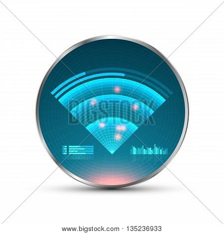 Blue radar screen. Vector illustration for your design. Technology background. Futuristic user interface. HUD. Vector illustration.