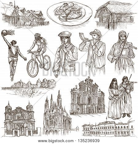 Travel series Republic of LITHUANIA - Pictures of Life. Collection of an hand drawn illustrations. Pack of full sized hand drawn illustrations set of freehand sketches. Drawing on white background.