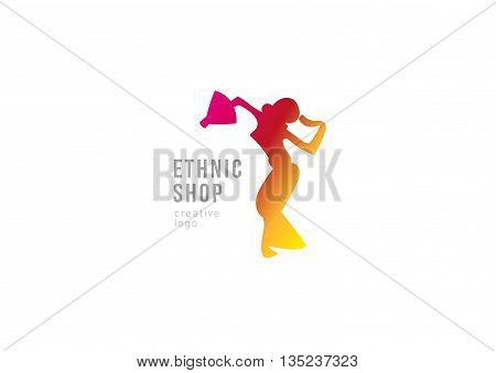 Logo ethnic shop. Dancing girl with fans