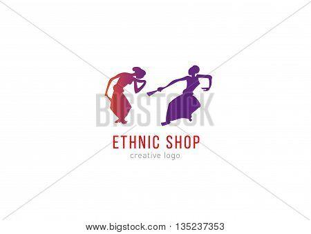 Logo ethnic shop. Dancing girls with fans