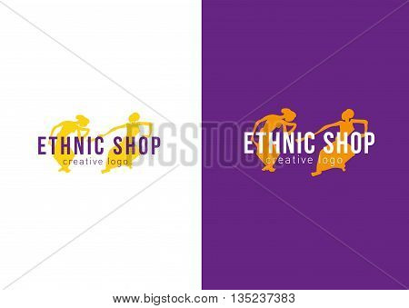 Logo ethnic store. Dancing girls with fans