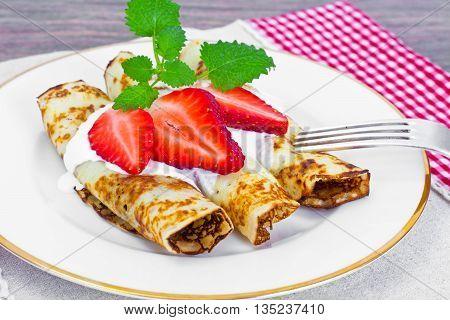 Tasty Pancakes Stack with Strawberry Studio Photo