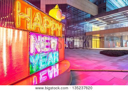 happy new year with neon light