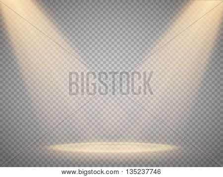 Vector isolated spotlight. Scene illumination. Light effect. Vector illustration