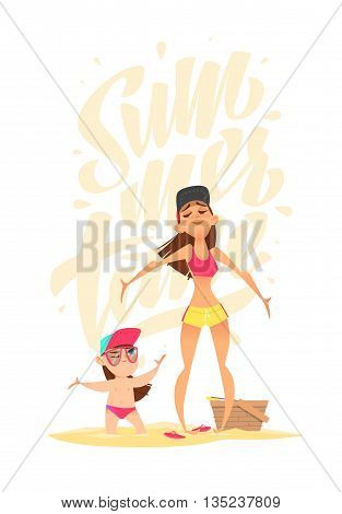 Summer characters. Family time on the beach. Happy moment. Mother and daughter sunbathe