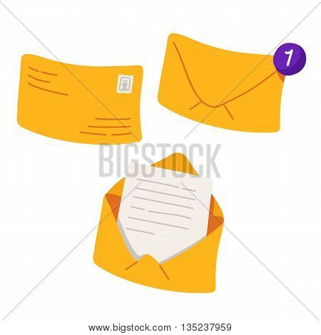 Yellow envelopes. Yellow envelope with one counter notification. Vector illustration isolated on white background