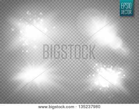 Vector transparent sunlight special lens flare light effect. Sun flash with rays and spotlight. Glow light effect. Star burst with sparkles. Vector illustration