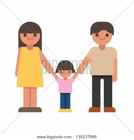 Set of characters. Mom, dad, kid. Happy family gesturing with cheerful smile.Vector flat illustration on white background.
