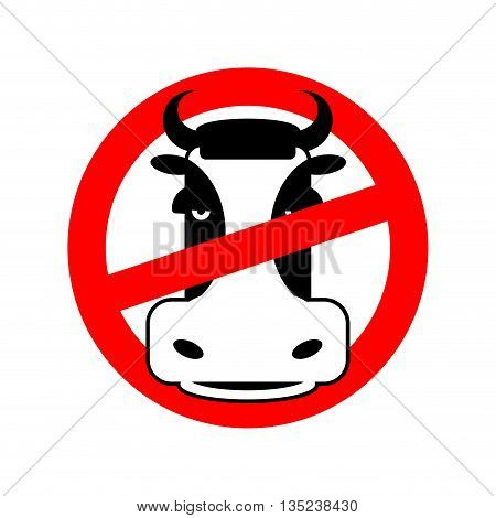 Stop Beef. Prohibited Animal Meat. Crossed-head Cow. Emblem Against Flesh. Red Prohibition Sign. Bee