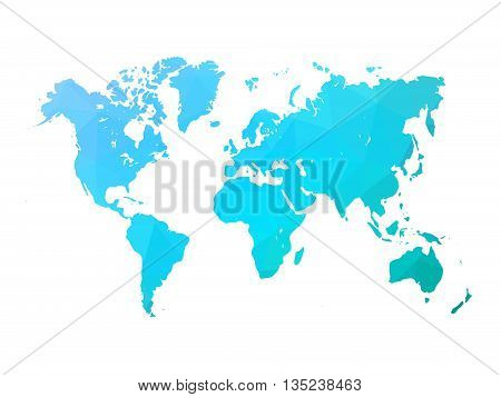Low poly map of world. World map made of triangles. Blue polygonal shape vector illustration on white background.