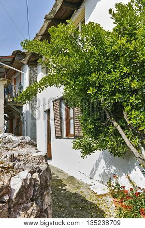 Old house and small street in village of Panagia, Thassos island,  East Macedonia and Thrace, Greece