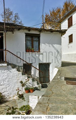 Stone street and Old house in village of Panagia, Thassos island,  East Macedonia and Thrace, Greece